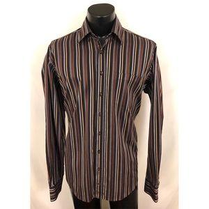 Bugatchi Uomo Button Up Shirt Brown Striped Tall L
